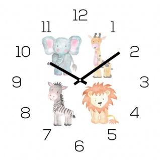 Wanduhr Zootiere 30x30cm Glas Kinder Uhr Glasbild Löwe Elefant Kinder Wanddeko