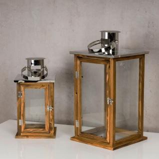 2er Set Holzlaternen Windlichter Hochwertig Holz Metall Glas braun - Vorschau 5