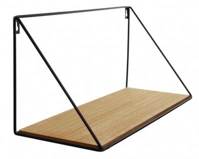 Wandregal Regal 39x15cm Schwarz Metall MDF Holz Natur Design Modern Industrie - Vorschau 2