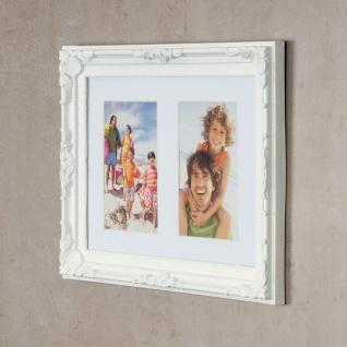 levandeo Bilderrahmen 2 Fotos 10 x15cm Barock Passepartout Weiß Collage Galerie - Vorschau 3