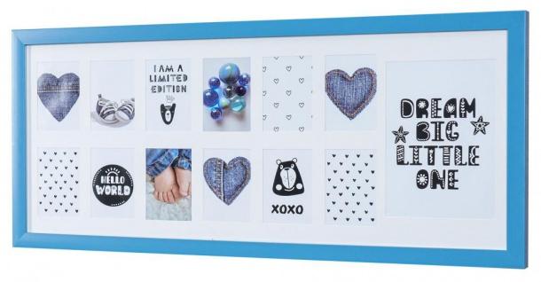 Bilderrahmen 63x27cm Blau Baby Kinder Fotorahmen Fotogalerie Collage Glas Deko