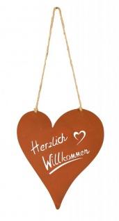 Schild Willkommen Herz 18x20cm Garten-Deko Türschild Edelrost Wandbild