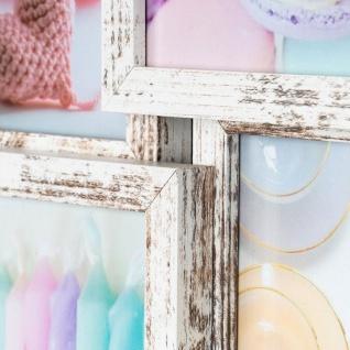 levandeo Bilderrahmen Collage 28x28cm 4 Fotos 10x15 Shabby Chic MDF Holz Glas - Vorschau 4