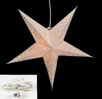 Leuchtstern 5 Zacken weiß 60cm Papiertstern Weihnachtsstern inkl Kabel - Vorschau 1