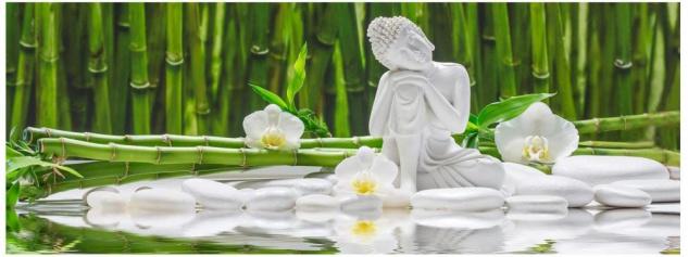 Glasbild 80x30cm Wandbild aus Glas Buddha Orchidee Wellness Bambus