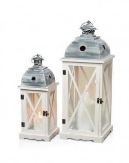 2tlg. Laternen Set Holz weiß Metall Glas Shabby Chic 42cm & 60cm 2er - Vorschau 1