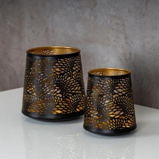 2er Set Teelichthalter Schwarz Gold H19 cm Metall Windlicht Design Kerzenhalter - Vorschau 3