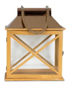 2er Set Laternen 32cm und 22cm Holz Metall Natur Windlicht Deko Garten - Vorschau 2