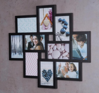 Bilderrahmen schwarz 10 Fotos Fotogalerie Fotocollage 3D Optik Collage - Vorschau 2