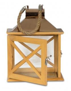 2er Set Laternen 32cm und 22cm Holz Metall Natur Windlicht Deko Garten - Vorschau 3