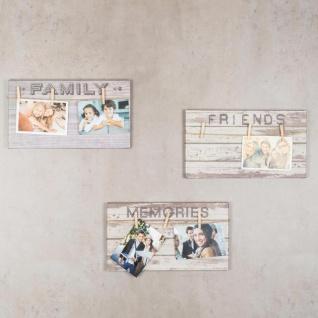 3er Set Wandbilder 36x20cm Bilderrahmen Sprüche Klammern Schilder Deko - Vorschau 3