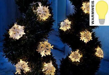 LED Lichterkette mit 10 Schneeflocken Sterne 115cm weiß Leuchtkette