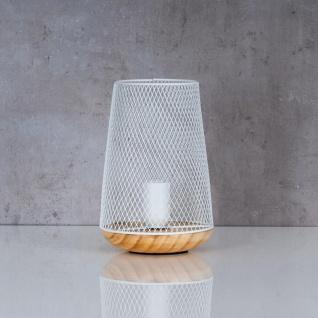 Tischlampe Metall Weiß H22cm Holz Lampe Standleuchte Leuchte Deko Tischdeko - Vorschau 3