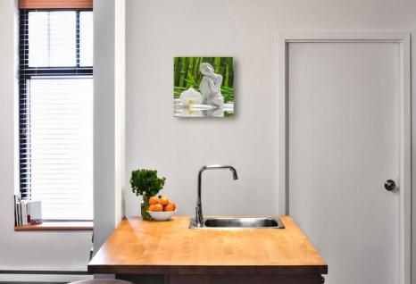 levandeo Glasbild 30x30cm Weiße Orchidee Bambus Buddha Wandbild Wanddeko - Vorschau 2
