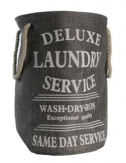 Wäschetonne mit Aufschrift in Grau Laundry Wäschekorb Wäschesack