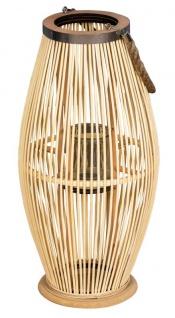 Laterne H60cm Bambus Windlicht Natur Holz Glas Kerzenhalter Sisal Deko