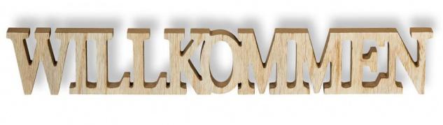 Schriftzug Holz Willkommen 60x9cm Deko Buchstaben Aufsteller Braun Natur