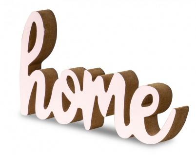 Schriftzug Home L20cm Pastell Rosa Holz Tischdeko Deko Aufsteller Wohndeko