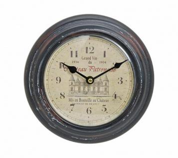 Wanduhr Metall 22cm Frankreich France Schloss Nostalgie Landhaus Uhr