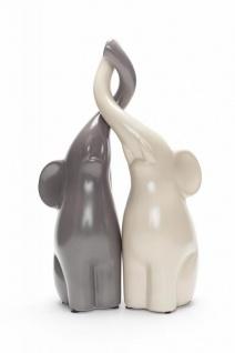 2er Set Deko Elefanten Figuren Grau Beige Porzellan 8x8x25, 5cm Liebe