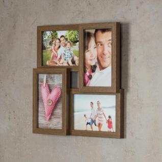 levandeo Bilderrahmen Collage 28x28cm 4 Fotos 10x15 Nussbaum MDF Holz Glas - Vorschau 3