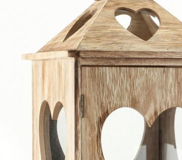 2tlg. Laternen Set Holz Herzen braun Glas Shabby Chic 24cm & 40cm 2er - Vorschau 4
