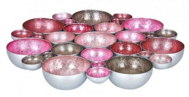 Teelichtschale 30x30cm Metall Pastell Pink Rosa Schale Teelichthalter Kerzenhalter
