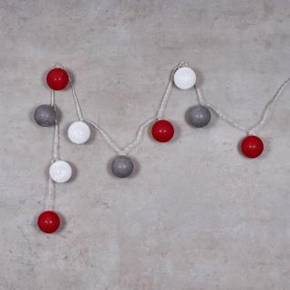 10er Lichterkette LED Ø6cm Kugeln Girlande Lampions Baumwolle Rot Grau Weiß Deko - Vorschau 3