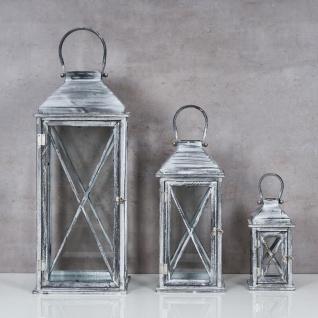 3er Set Laterne 70cm Hoch Grau Weiß Glas Holz Windlicht Shabby Chic Vintage - Vorschau 2