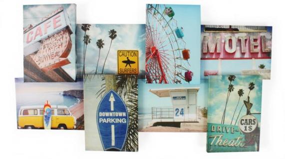 Wandbild 3D Optik Holiday Motel Surfen Amerika Leinwandbild 74x41cm