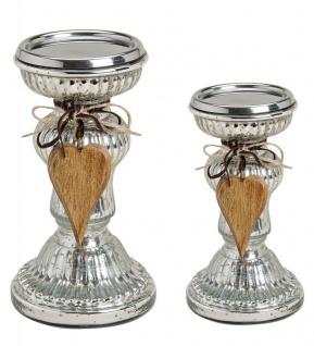2er Set Kerzenständer H21cm H17cm Kerzenhalter Tischdeko Kerzenleuchter Deko - Vorschau 1
