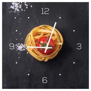Wanduhr aus Glas 30x30cm Uhr Glasbild Küche Pasta Nudeln Gewürze Deko