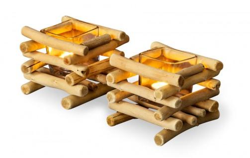 2er Set Teelichthalter Treibholz 15 x 15 cm Holz Glaseinsatz Kerzenhalter