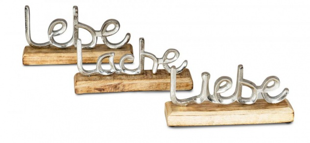 3er Set Schriftzug Lebe Lache Liebe L23cm Metall Silber Mango Holz Deko