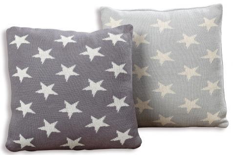 kissen set sterne star grau 40x40 baumwolle sofakissen dekokissen kaufen bei living by design. Black Bedroom Furniture Sets. Home Design Ideas