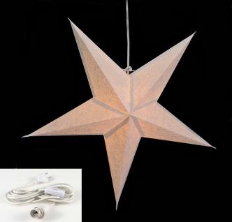 Leuchtstern 5 Zacken weiß 60cm Papiertstern Weihnachtsstern inkl Kabel - Vorschau 2