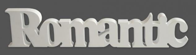 Schriftzug Romantic aus Holz weiß - Aufsteller Deko Dekoration