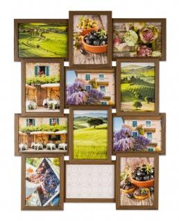 levandeo Bilderrahmen Collage 51x68cm 12 Fotos 13x18 Nussbaum MDF Holz Glas