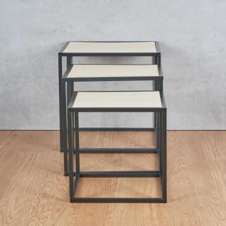 3er Set Beistelltisch Metall Schwarz Holz Cube quadratisch Couchtisch Deko Tisch - Vorschau 3