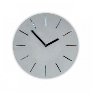Hochwertige Wanduhr Beton-Uhr 30cm Grau Spiegelziffer Modern Wanddeko Deko