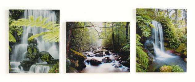 3 Wandbilder im Set Wasserfall Natur Landschaft 3er Set Leinwandbild