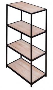 Standregal H75cm Holz Eisen Schwarz Braun 4 Fächer Industrial Bücherregal Ablage