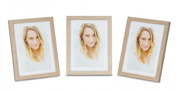 levandeo 3er Set Bilderrahmen 13x18cm Eiche gekälkt Holz MDF Glas Fotorahmen
