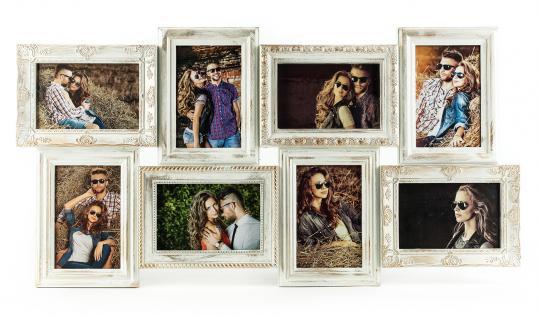 Bilderrahmen weiß gold gewischt 8 Fotos Barock antik Galerie Collage