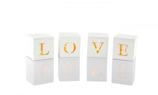 4er Set LED Buchstaben Würfel Schriftzug Love aus Holz im Shabby Look