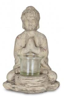 Teelichthalter Buddha Figur Keramik 19cm hoch Grau Tischdeko Kerzenhalter