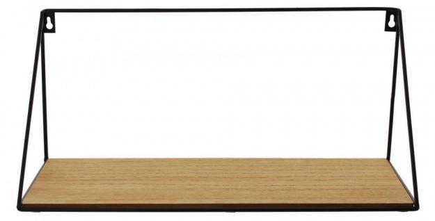 Wandregal Regal 39x15cm Schwarz Metall MDF Holz Natur Design Modern Industrie - Vorschau 1