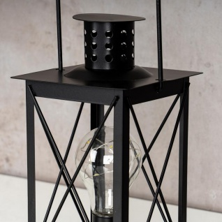 levandeo Tischlampe Metall Schwarz LED 12x23cm Lampe Laterne Standleuchte Retro - Vorschau 5