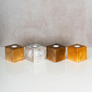 levandeo Teelichthalter Holz Massiv 10x10cm Eiche Farbig Kerzenständer Rustikal - Vorschau 4