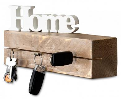 levandeo Schlüsselbrett Holz Massiv 35x10cm Shabby Chic lackiert Schlüsselleiste